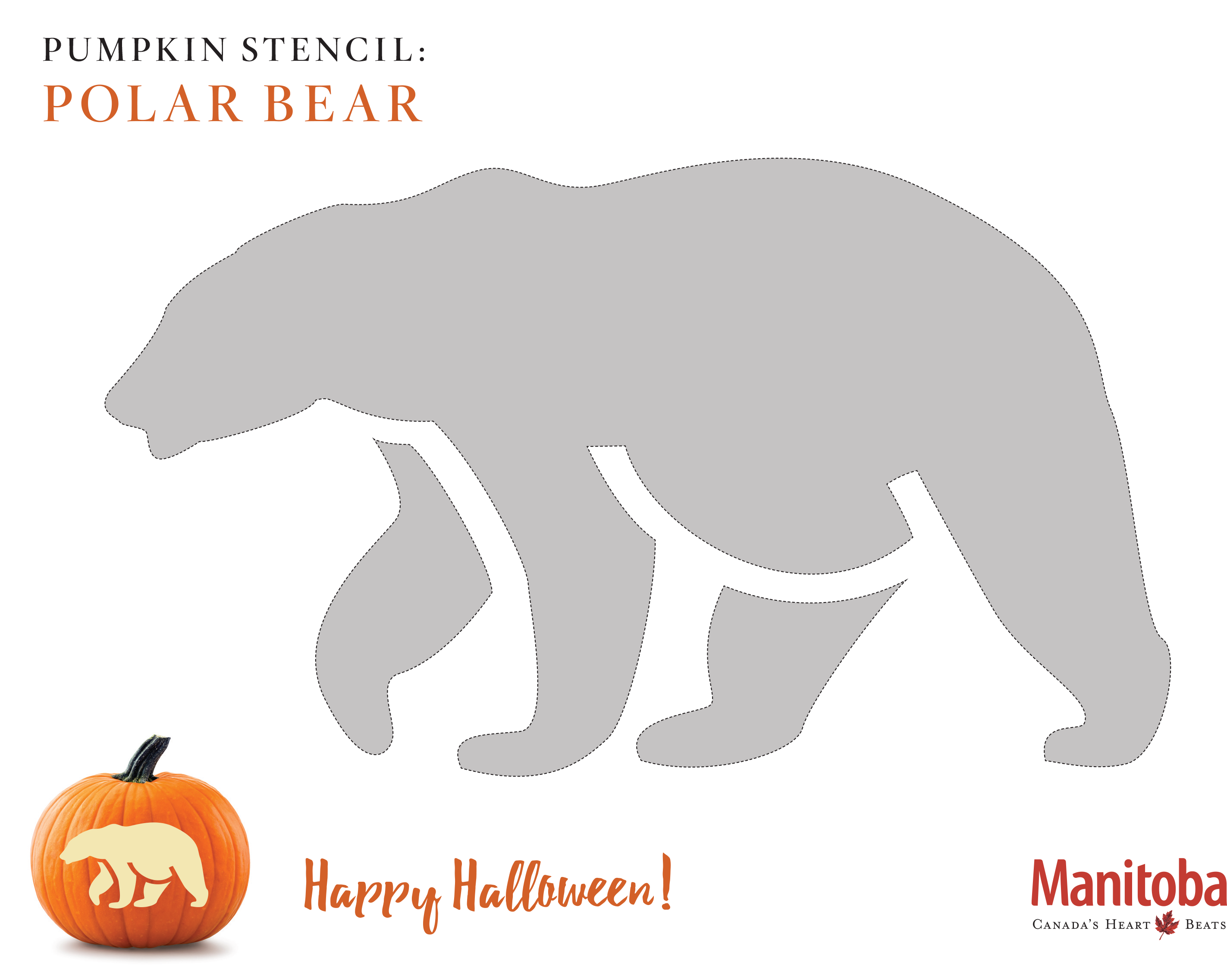 Polar Bear Pumpkin Carving Stencil
