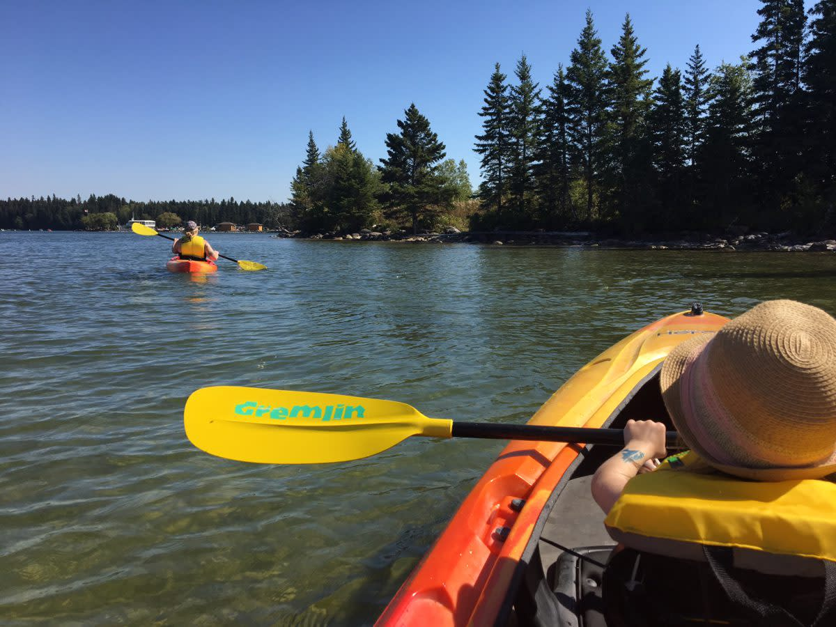 Kayaking the shores of Clear Lake.