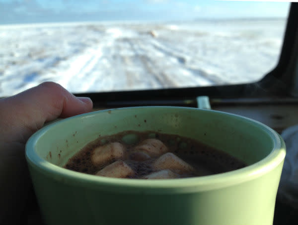 Hot chocolate on the tundra buggy