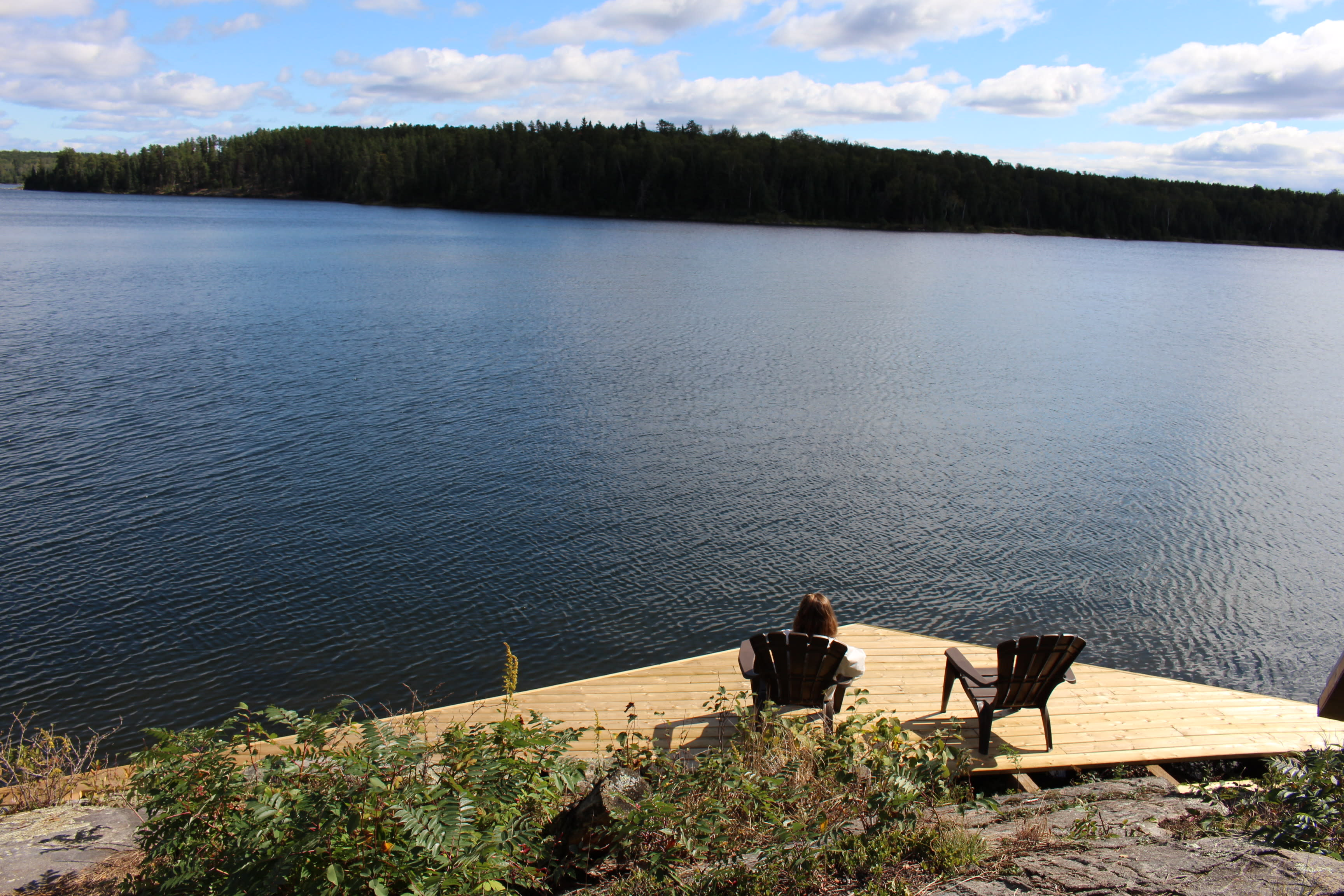 Enjoying the view from the dock at the HIgh Lake Eco Cabins