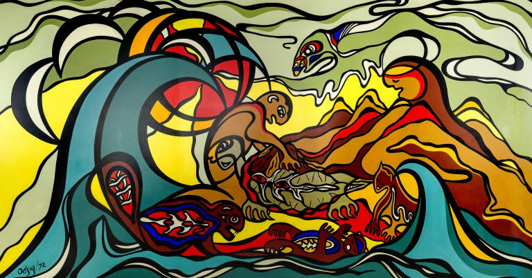 The Creation of the World, 1972, Daphne Odjig, Acrylic on masonite, 590 x 326 cm | H4-2-153