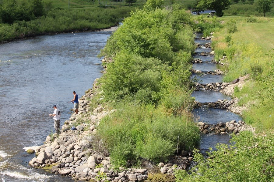 Fishing at the spillway and fish ladder in Minnedosa