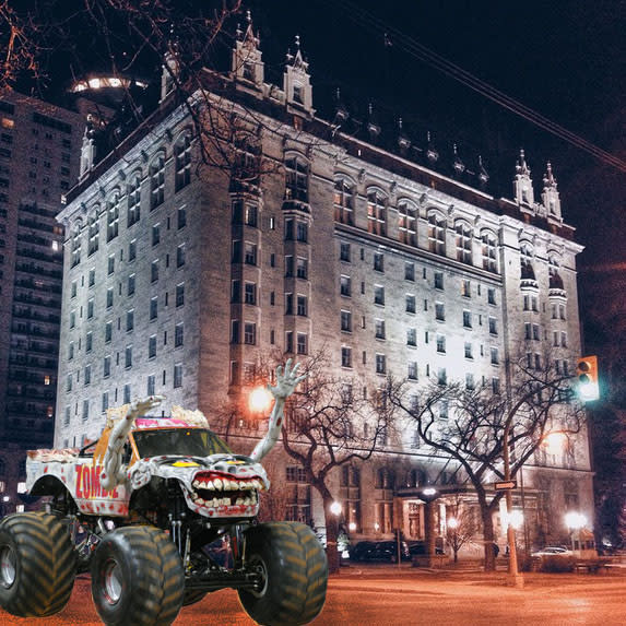 Monster Truck Zombie on a ghost walk at Fort Garry Hotel in Winnipeg, Manitoba