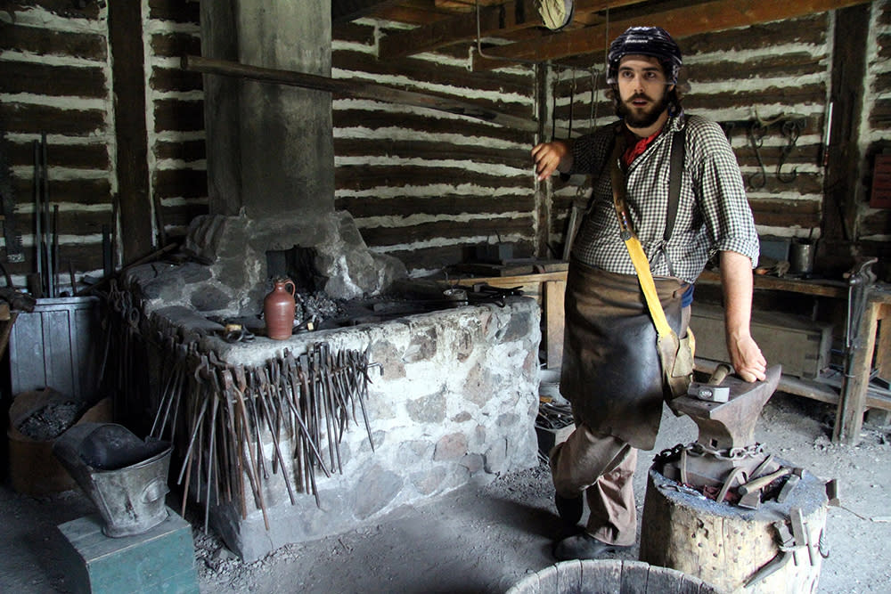 Mathieu Perreault as a black smith at Fort Gibraltar