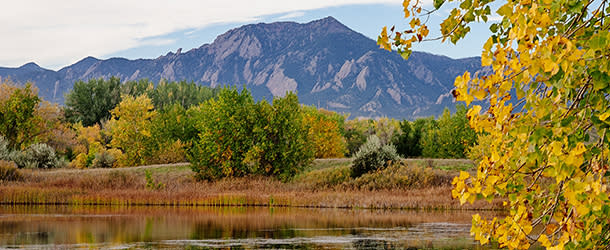 An autumn scene of Wonderland Lake in Boulder