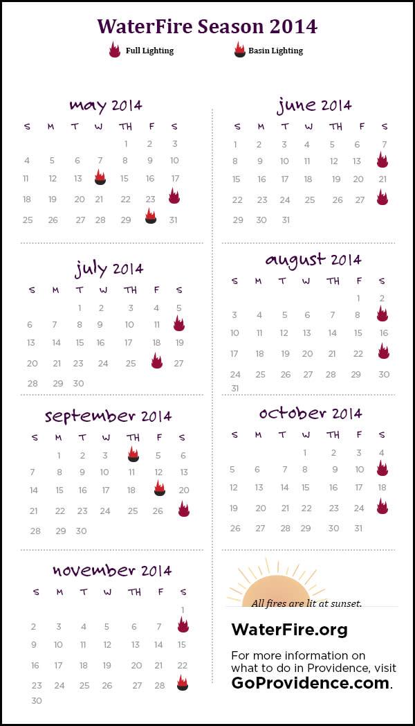 WaterFire Schedule 2014
