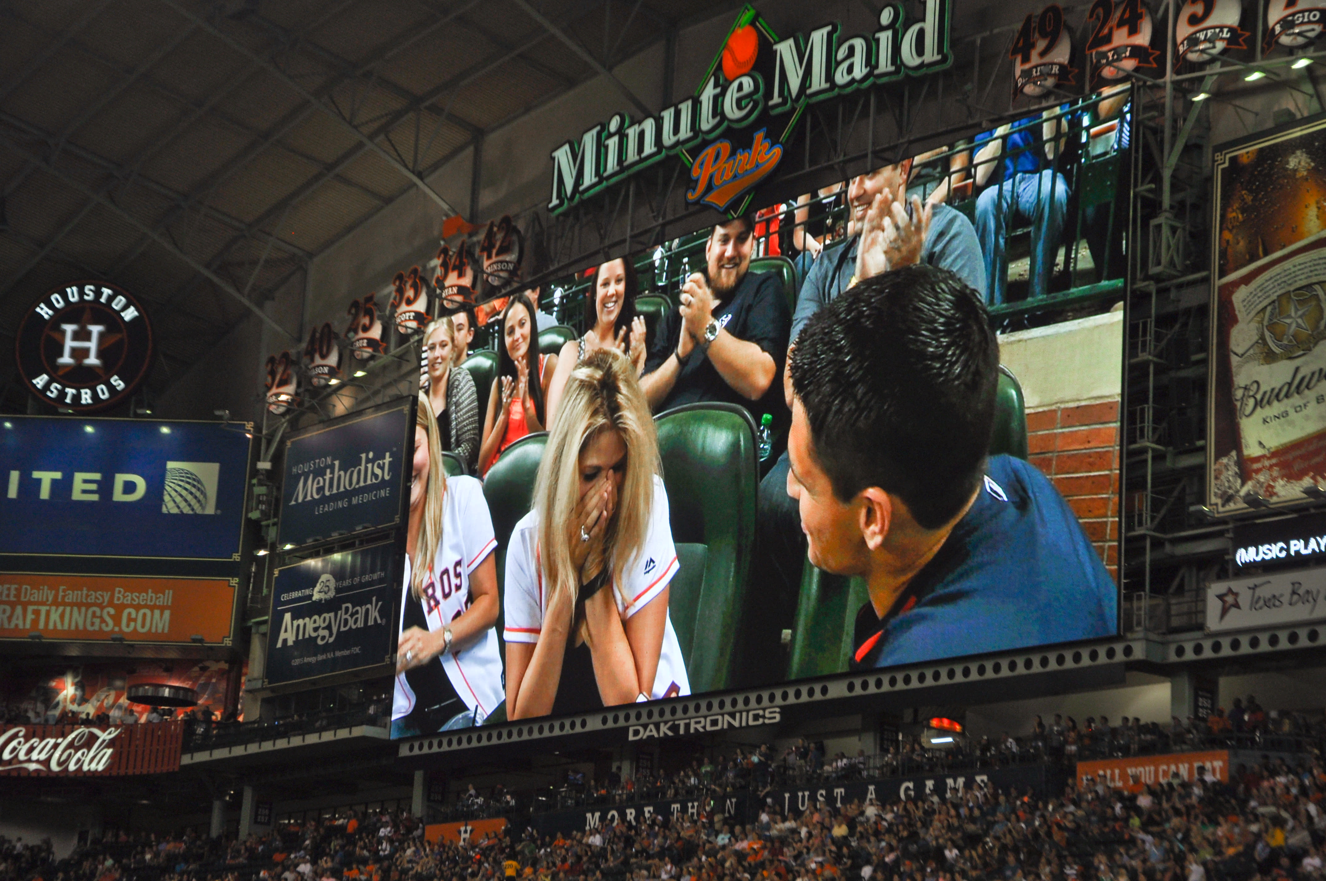 Marriage Proposal on Minute Maid Park Big Screen