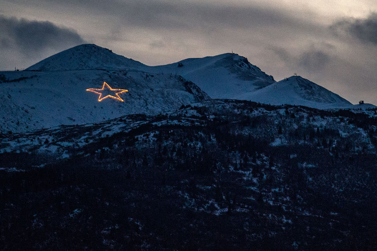 Summit Star lights on the mountain in Anchorage, Alaska