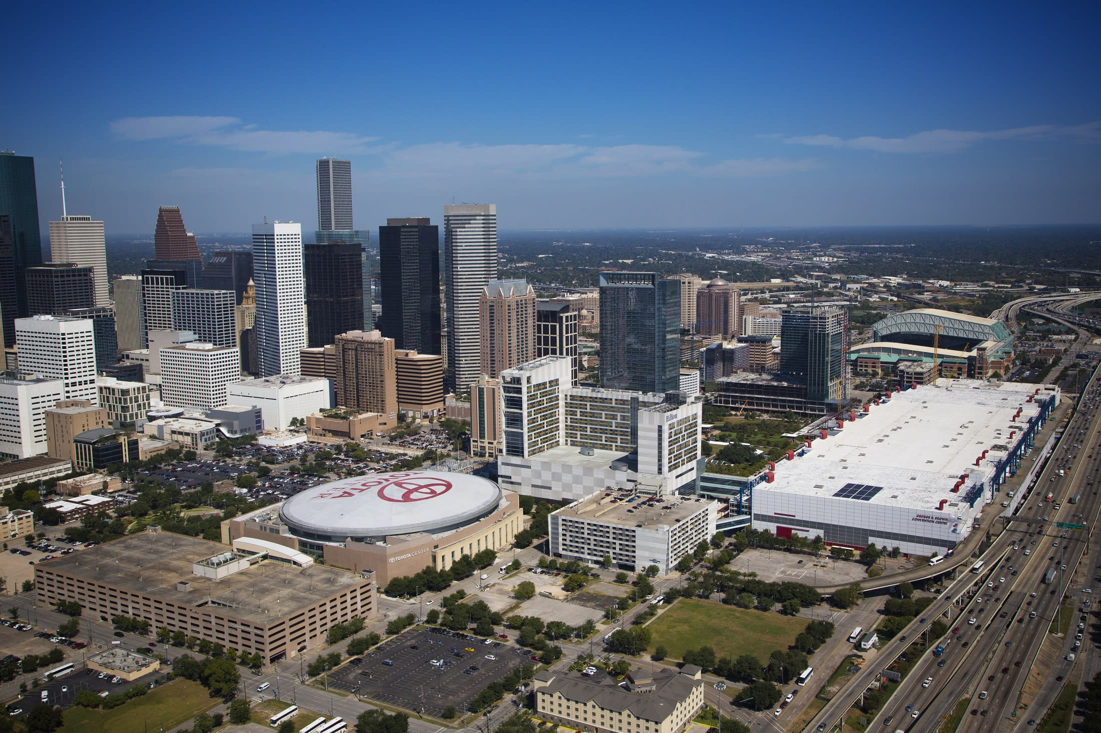 Daytime view of the Convention District Skyline in Houston, Texas.