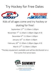 Try Hockey For Free 2015-16 Dates