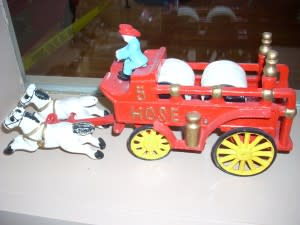 Antique cast iron fire engines are on display at the Firefighters Museum.