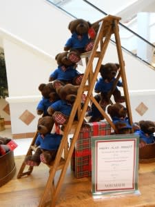 A tower of Teddy Bears - aren't the plaid paws cute? (The bears are really soft, too!)