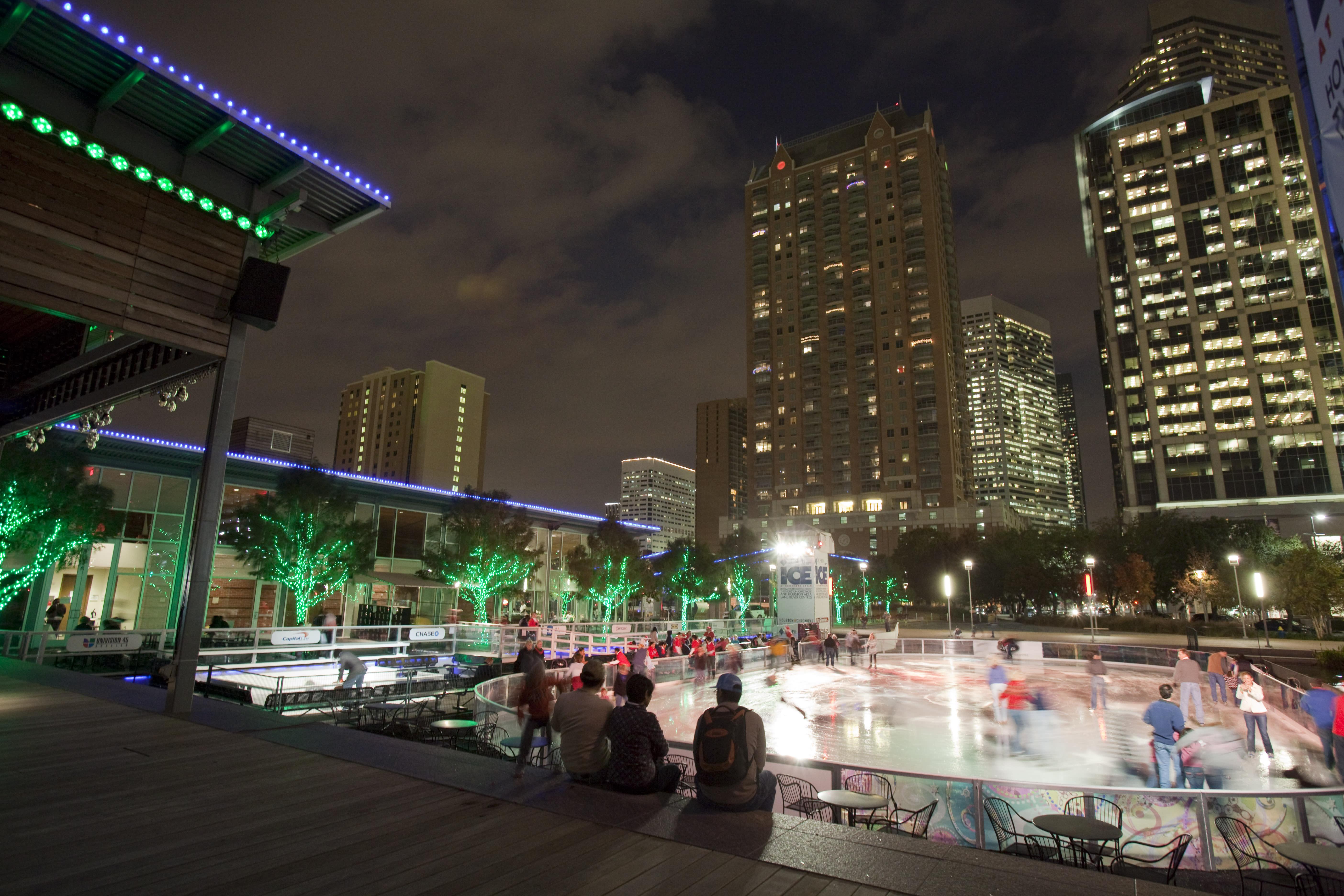 Ice Skating at Discovery Green (night)
