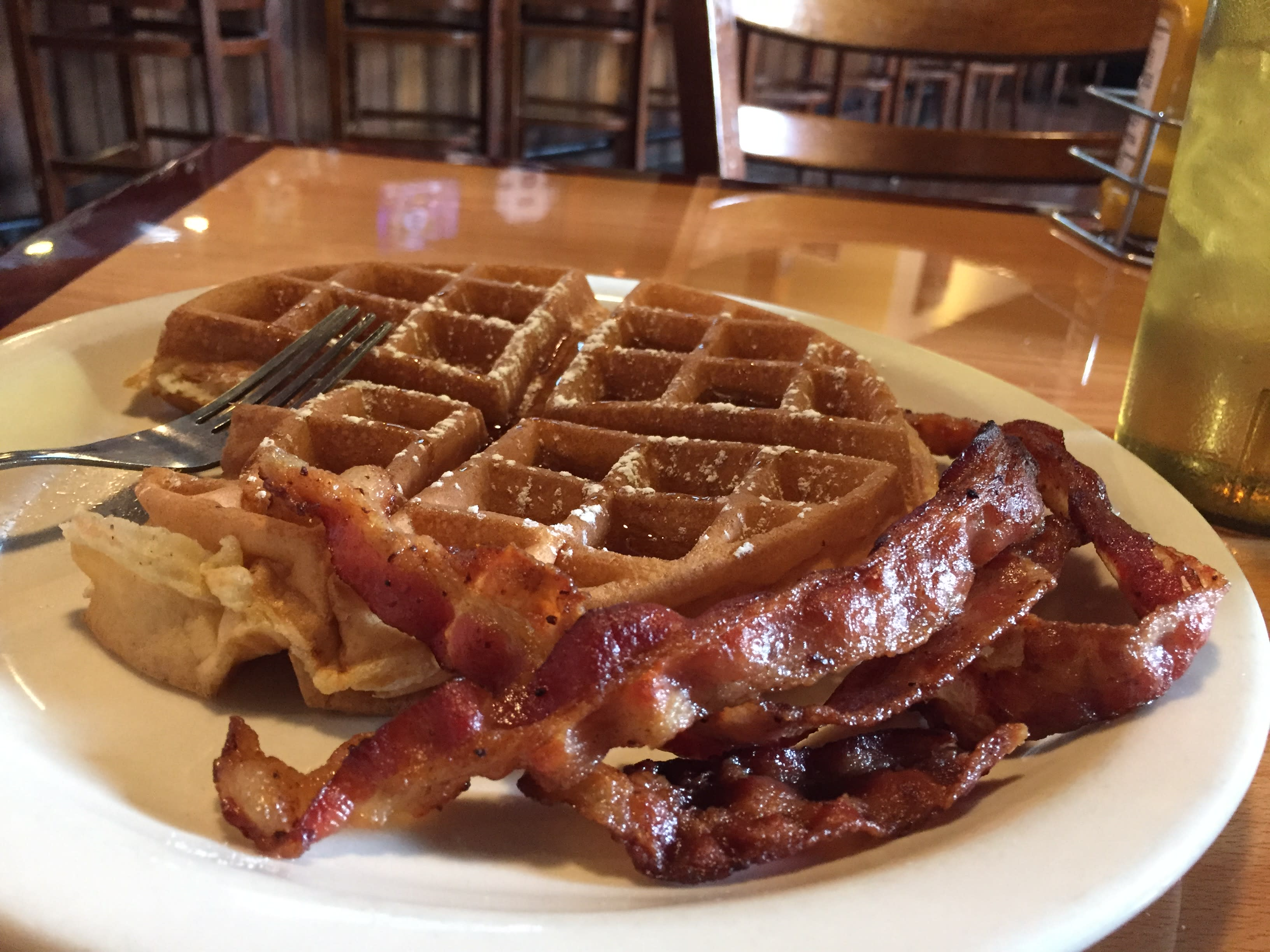 Waffles & Sausage Links at the Back Porch Grill & Tavern