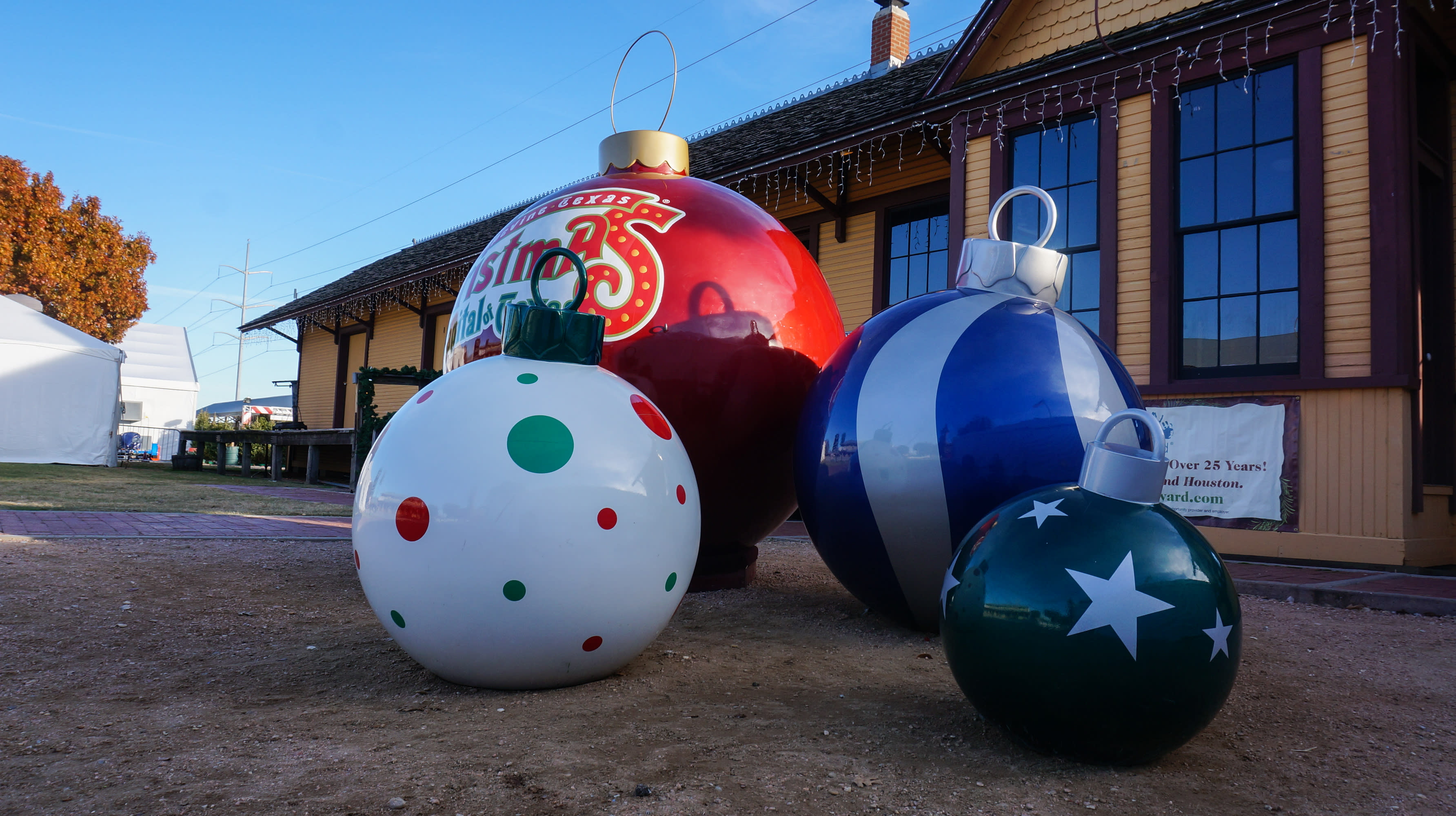 Gather Around the Giant Ornaments outside the Grapevine Vintage Railroad