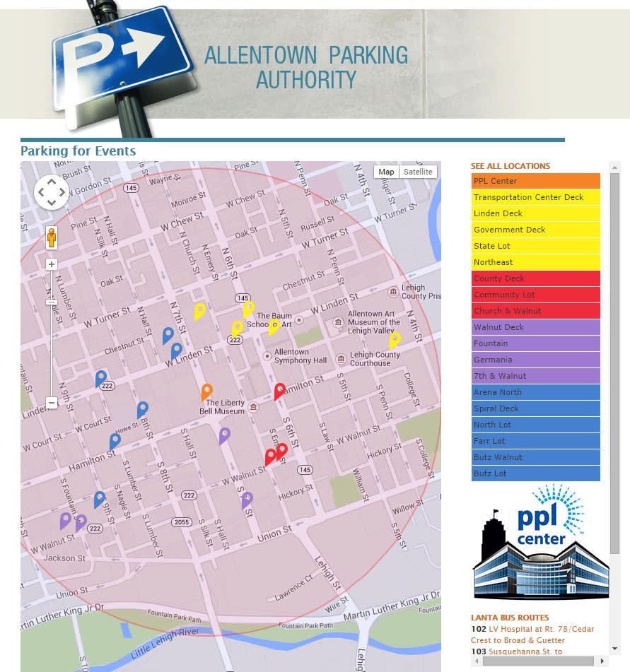 AllentownEventParking.com is a real time parking site
