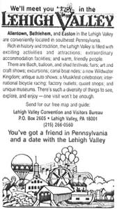 We'll meet you in the Lehigh Valley Ad circa 1987