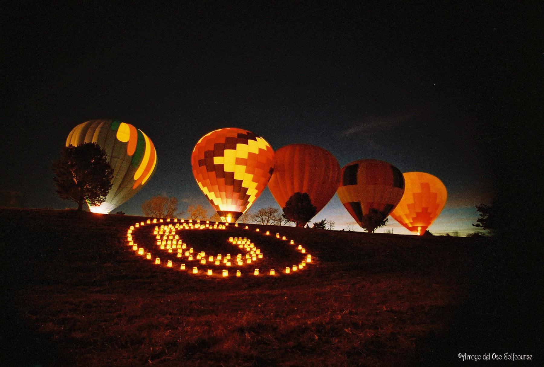 Arroyo del Oso Balloon Glow on Christmas Eve in Albuquerque
