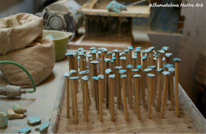 Raw turquoise ready to shape in Albuquerque