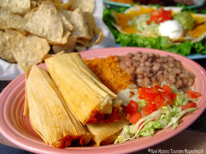 New Mexican tamales and side dishes