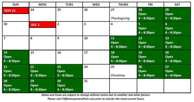 Cliff's Magical Christmas Schedule - www.CliffsAmusementPark.com