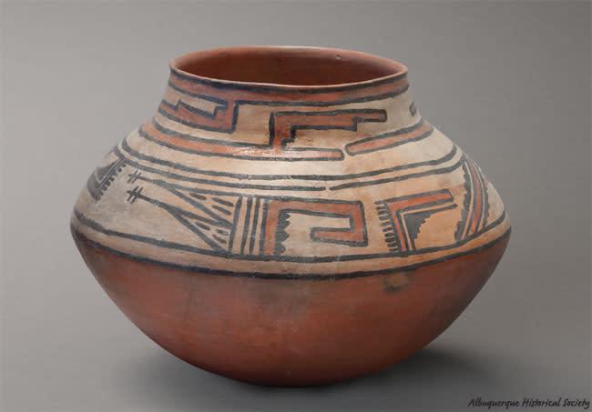 Rio Grande Glaze Polychrome jar, Tonque Pueblo, c. 1490 Gift of Dick Bice via the Albuquerque Historical Society PC1974.33.9