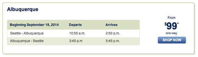 Service snapshot between ABQ-SEA - AlaskaAirlines.com