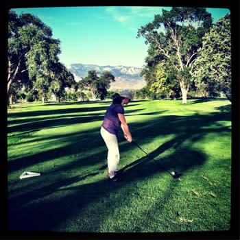 Golf overlooking the Sandia Mountains in Albuquerque, New Mexico