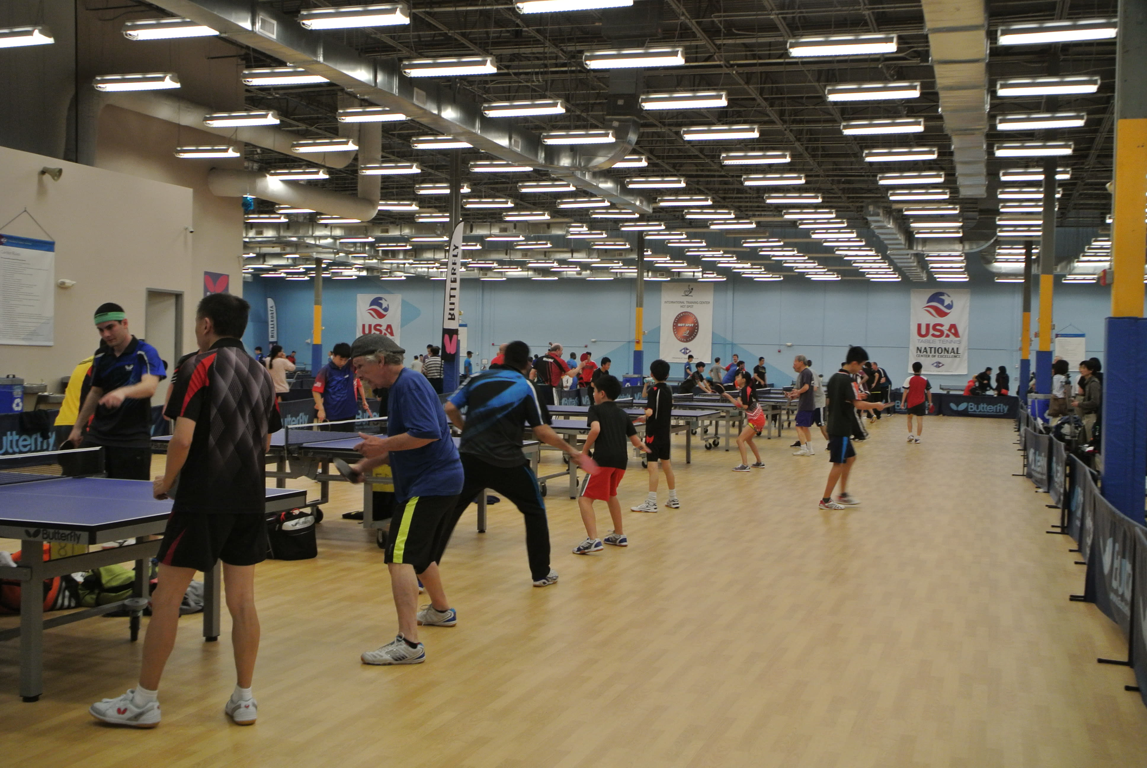 Tournament warm-up - Courtesy of Triangle Table Tennis