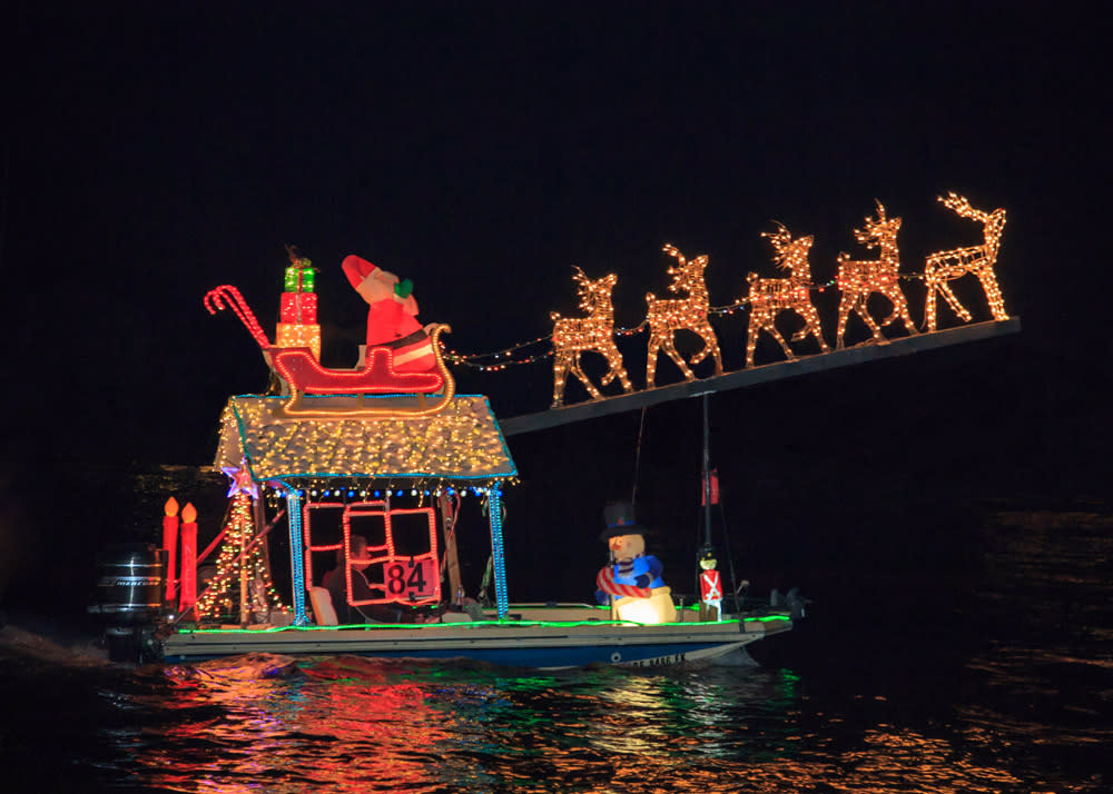 Newport Beach Christmas Boat Parade Sleigh and Reindeer