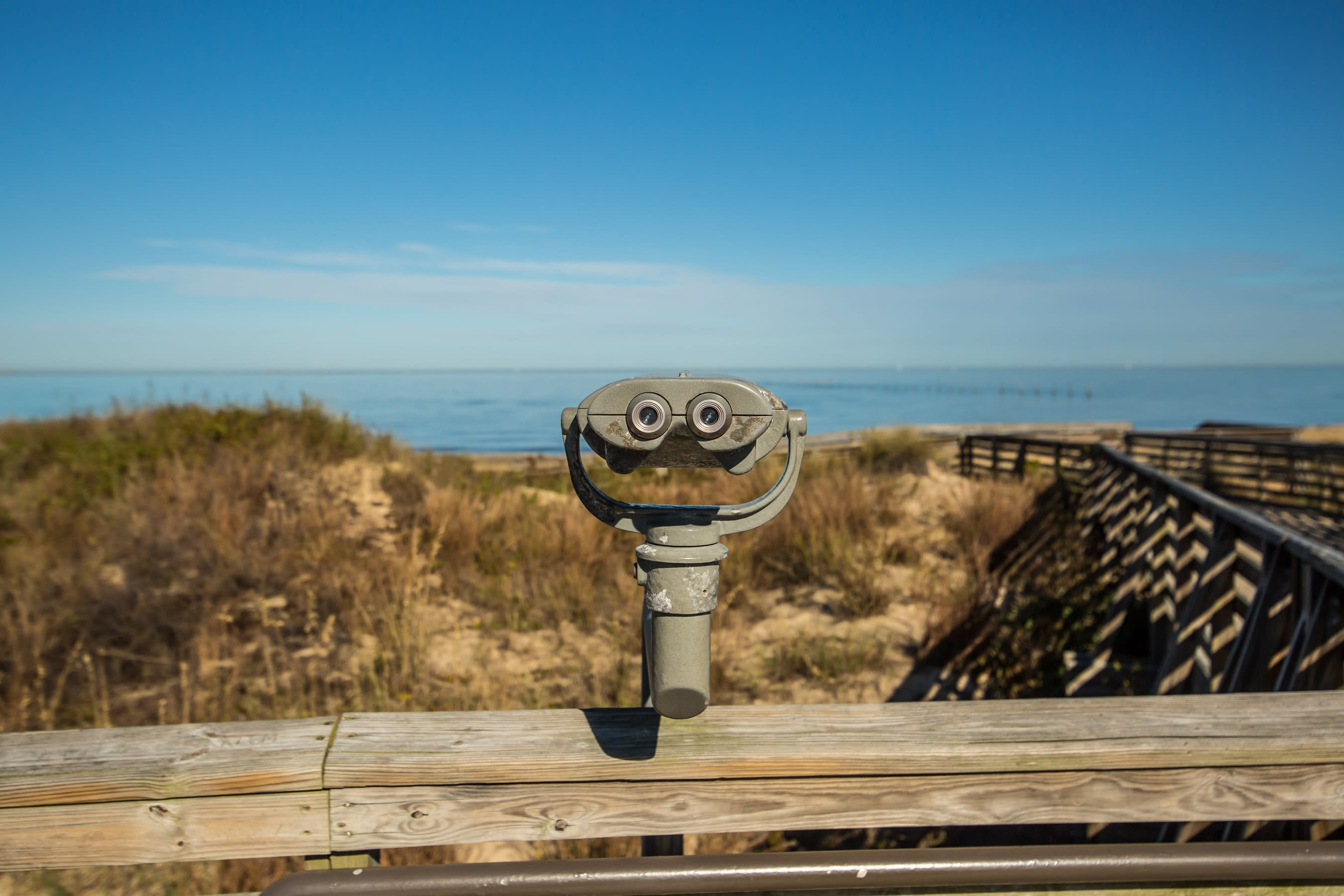 Binoculars Looking Out Over The Hills And Shore Of First Landing State Park