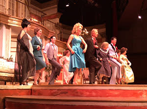 The whole cast does a little jig.