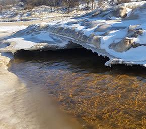 Indiana Dunes shelf ice in winter