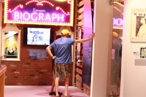 Guests in front of the Biograph display
