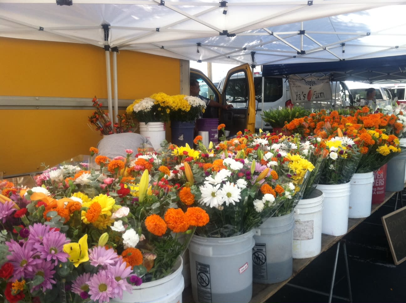 fresh flowers on display at the Certified Farmers Market in Greater Palm Springs