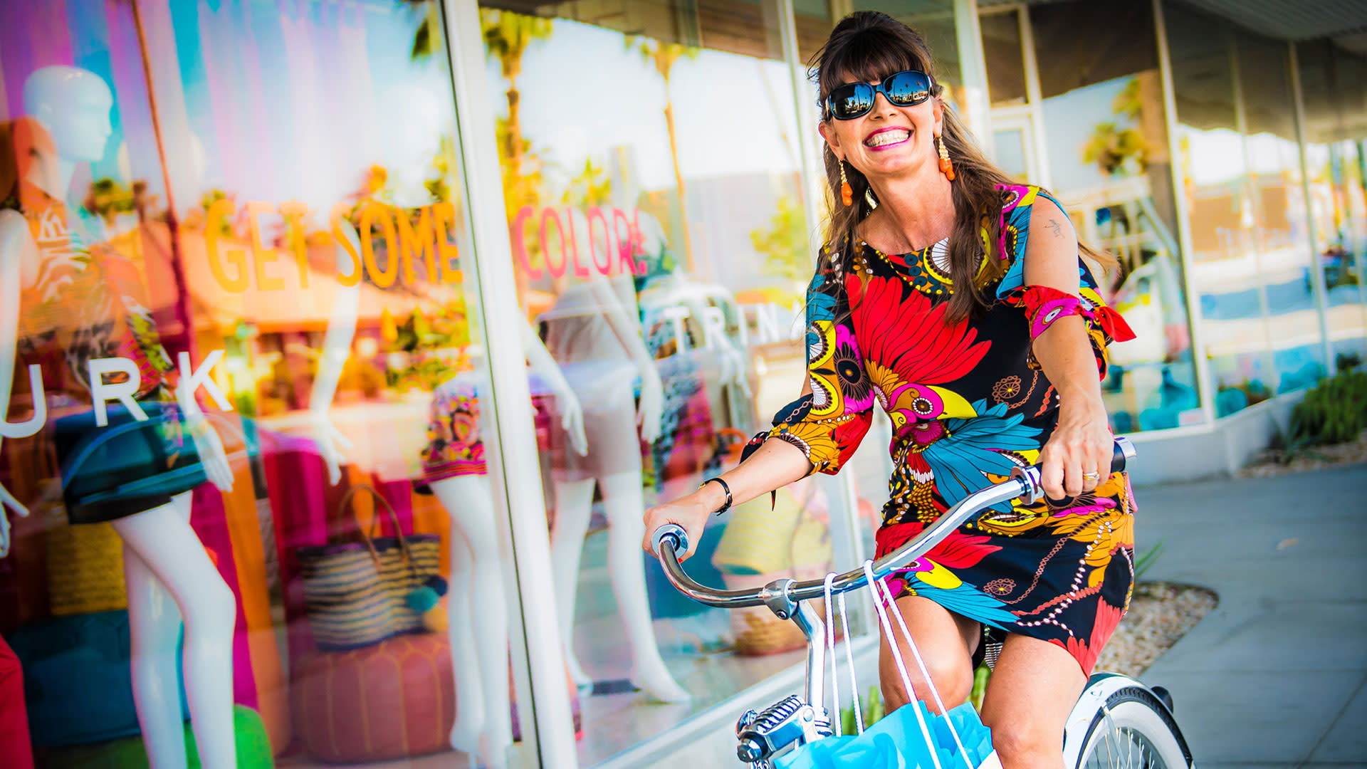 a bike ride by trina turk's boutique in downtown palm springs