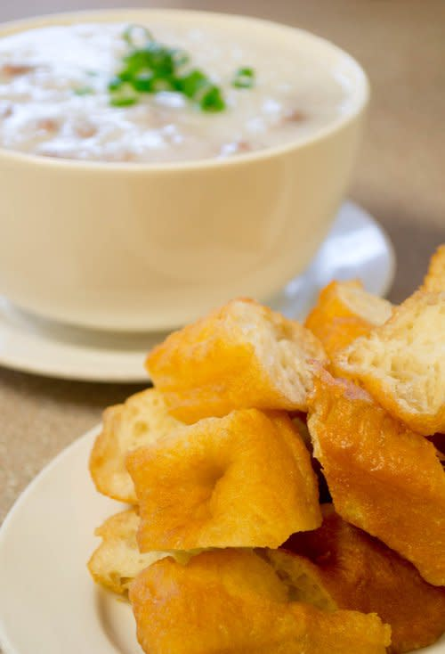 Tai Hing Congee with Beef and donuts - web