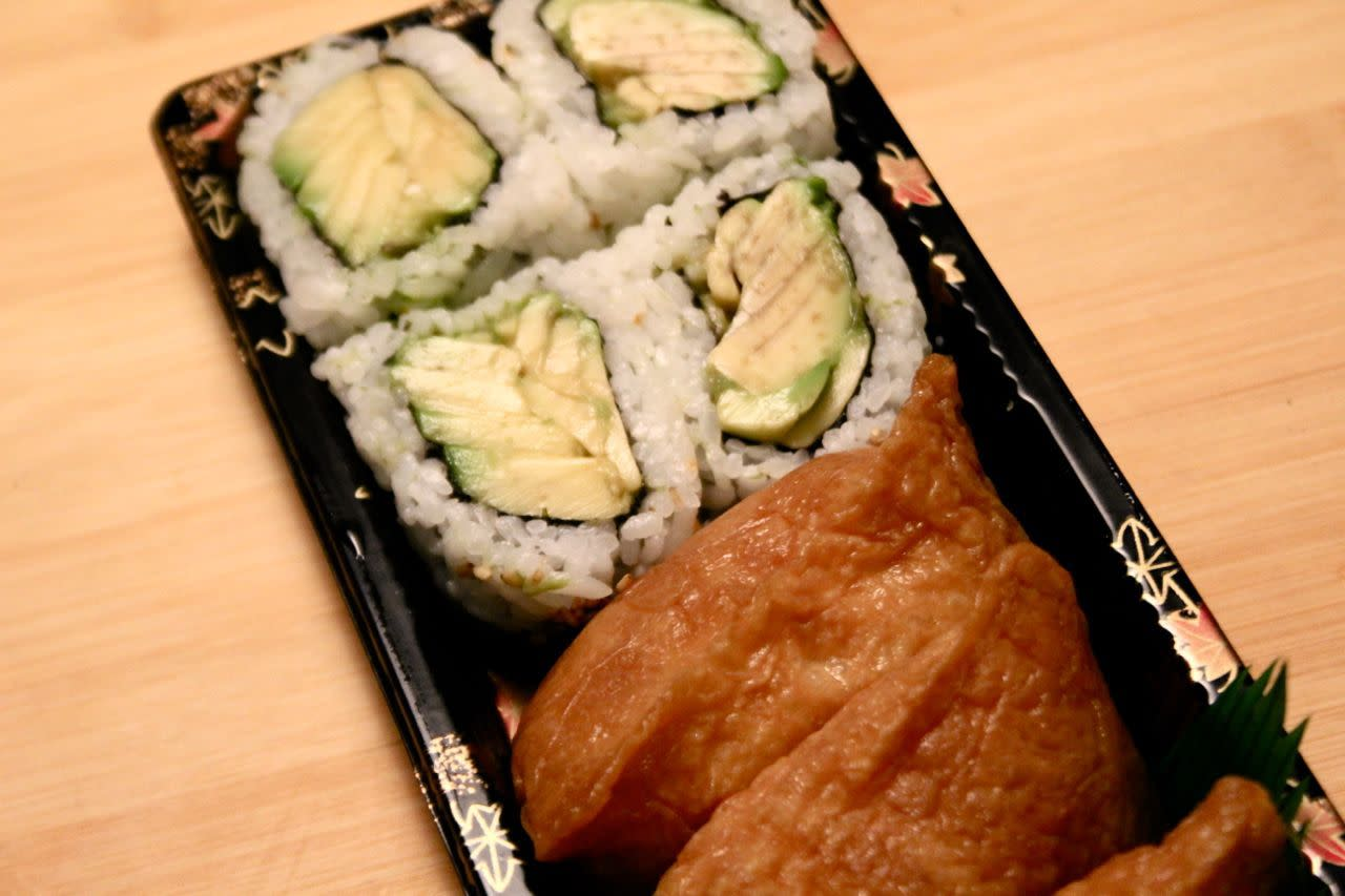 Avocado roll and inari sushi from Empire Supermarket