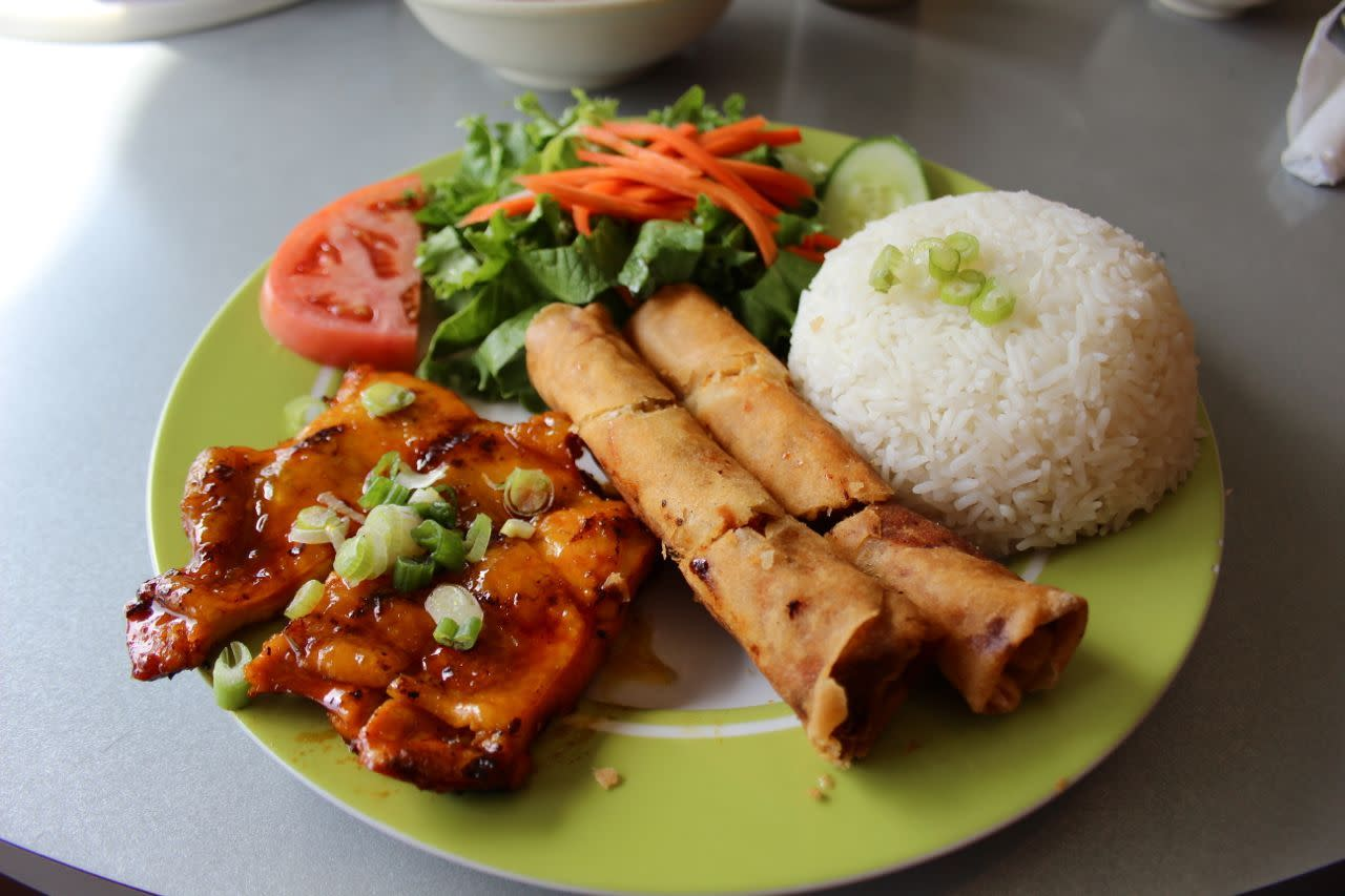 grilled chicken and spring rolls at Pho 99