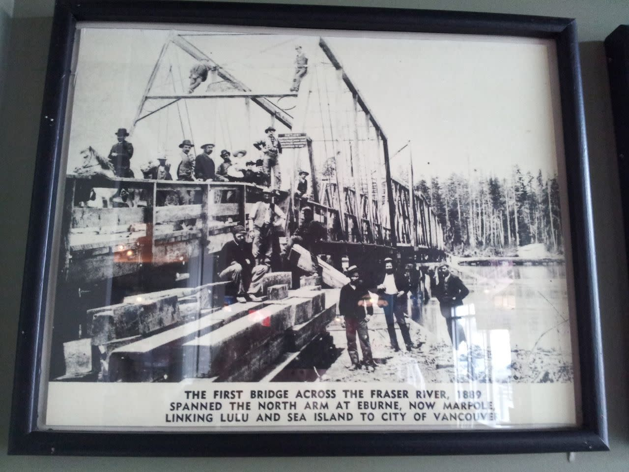 first bridge across Fraser River, Lulu Island
