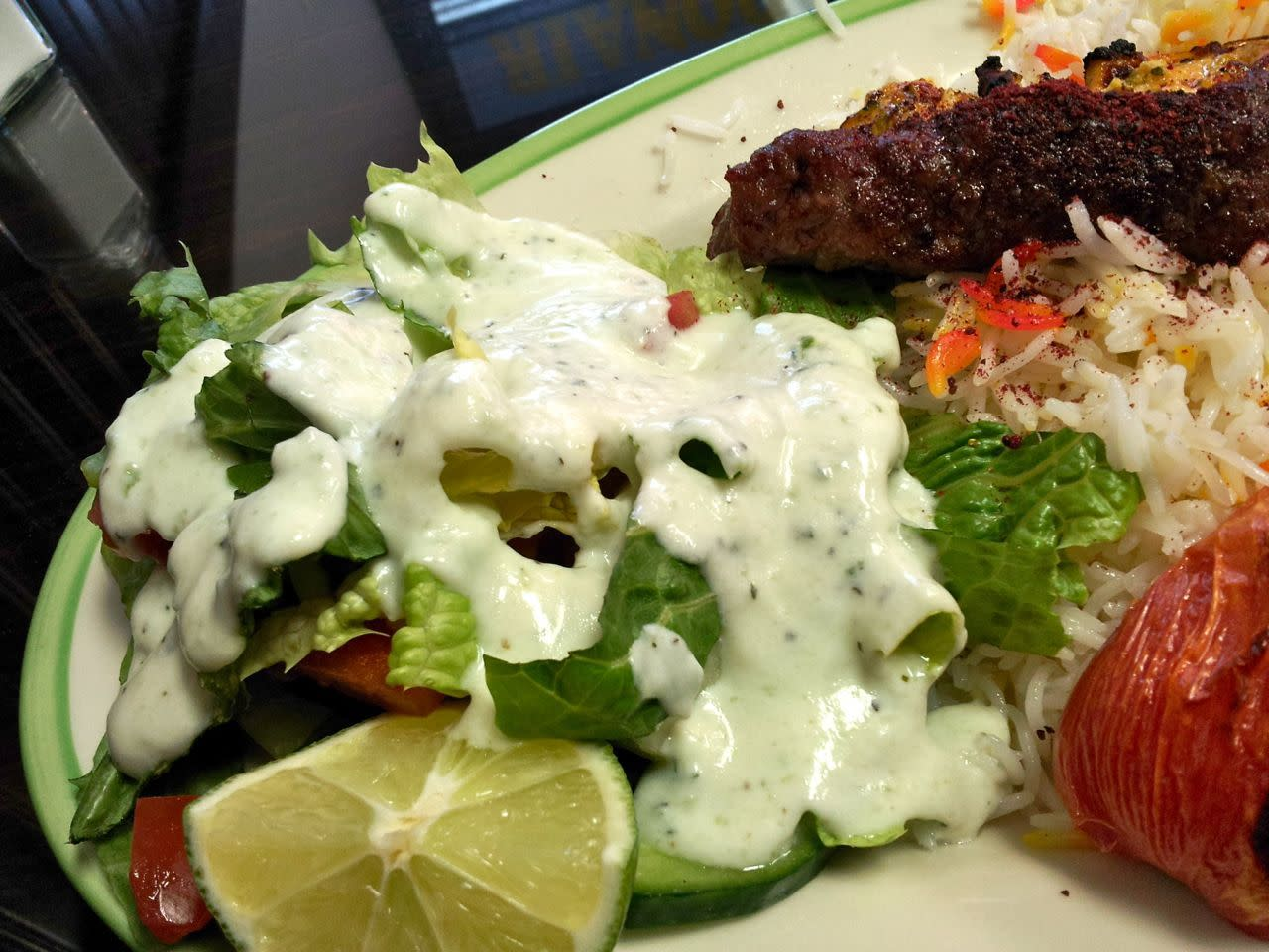 shirazi salad with yogurt dressing