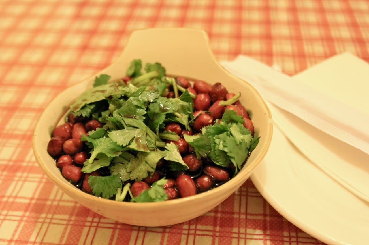 Chinese vinegar peanuts with fresh cilantro