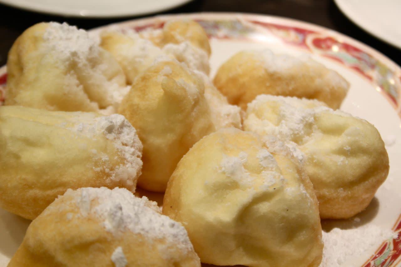 fried dough puffs with red bean paste