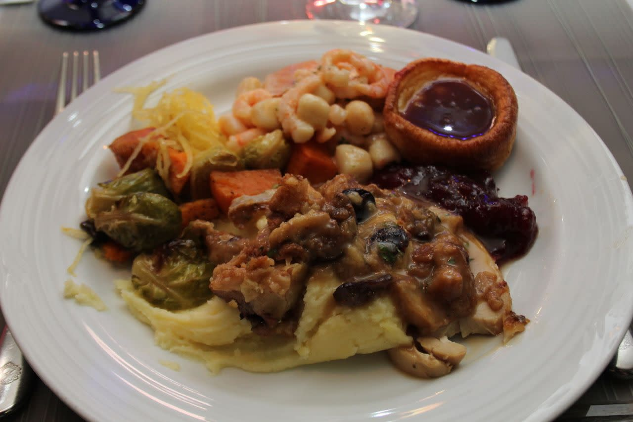 Main courses at Christmas Eve buffet at Fairmont YVR