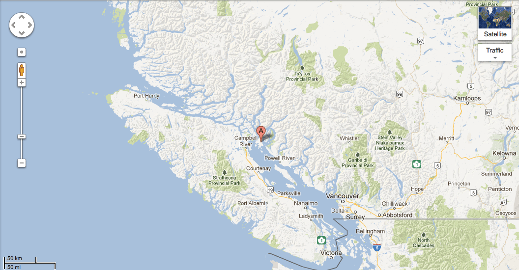 BC map with Cortes Island