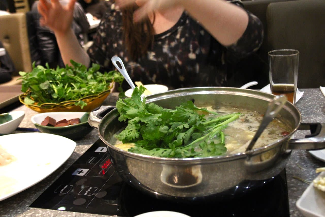 Chinese greens in hot pot