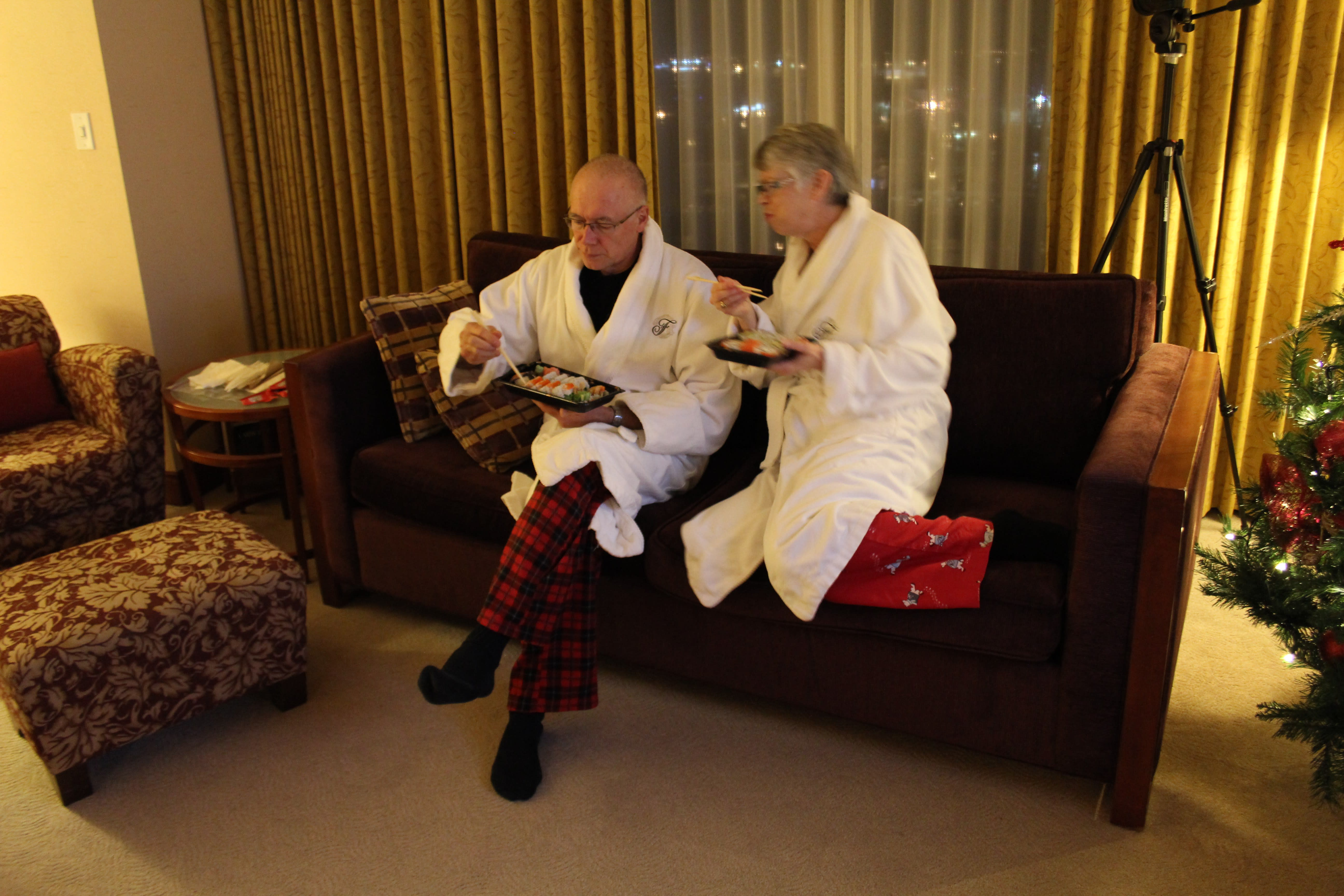 Mom and Dad in robes at Fairmont YVR
