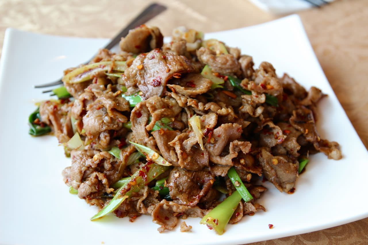 Stir-fried lamb with cumin; Photo Credit: Lindsay Anderson