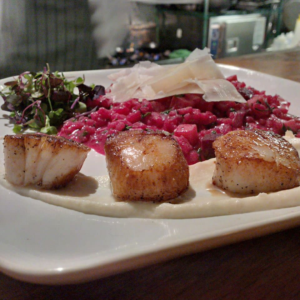 Scallops with root vegetable risotto