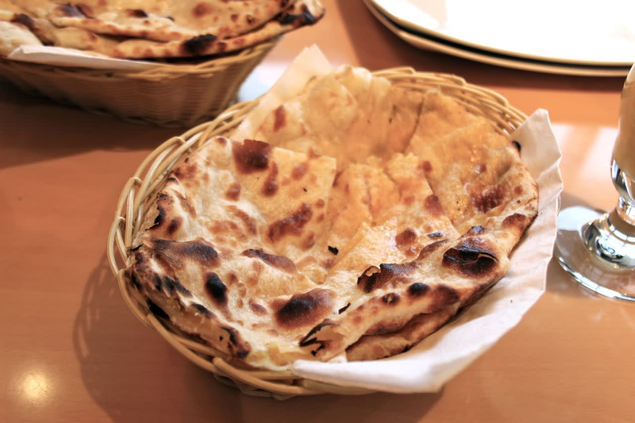 sweet naan with mango and coconut